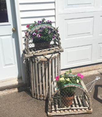 Lobster trap with flowers