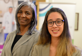 Zeina Atwi (right), received one of eight Diversity in Health Care Bursaries, funded by the QEII Foundation. The annual bursary was launched in 2015 with the help of Donalda MacIsaac (left), former co-chair of the Cobequid Community Health Board in Sackville, N.S.