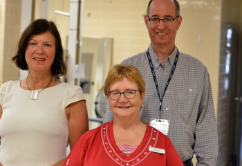 Marilyn MacKay-Lyons (left), Dalhousie University physiotherapy professor and QEII affiliate scientist, Alison McDonald (front), QEII physiotherapist, and Richard Braha (right), program manager of the QEII's acquired brain injury services, started the Aerobic Screening and Prescription clinic for stroke patients, with funding from a 2014 QEII Foundation Translating Research Into Care grant