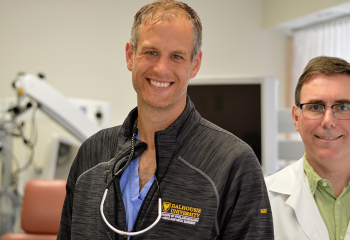 Dr. Matthew Rigby (left), QEII head and neck oncology surgeon, and Dr. Martin Bullock (right), QEII pathologist, are working to improve outcomes for throat cancer patients with the help of a QEII Foundation Translating Research Into Care grant. (QEII FOUNDATION)