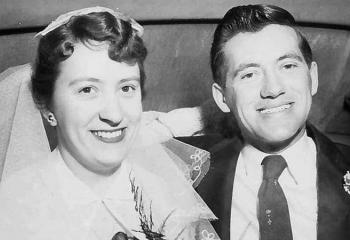 Ginny and Bob Bouchard on their wedding day in 1955