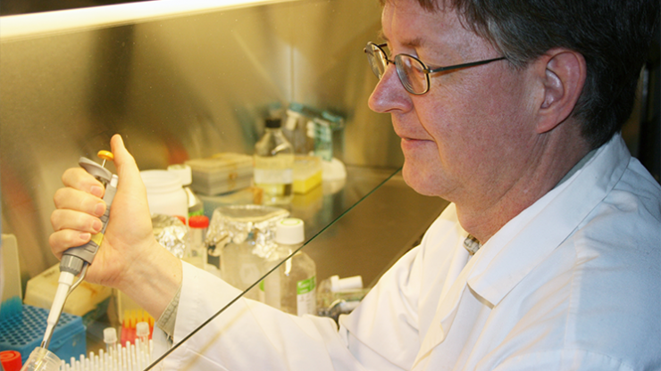 Canadian Breast Cancer Foundation – Atlantic Region Chair in Breast Cancer Research, Dr. David Hoskin preparing cancer doses.