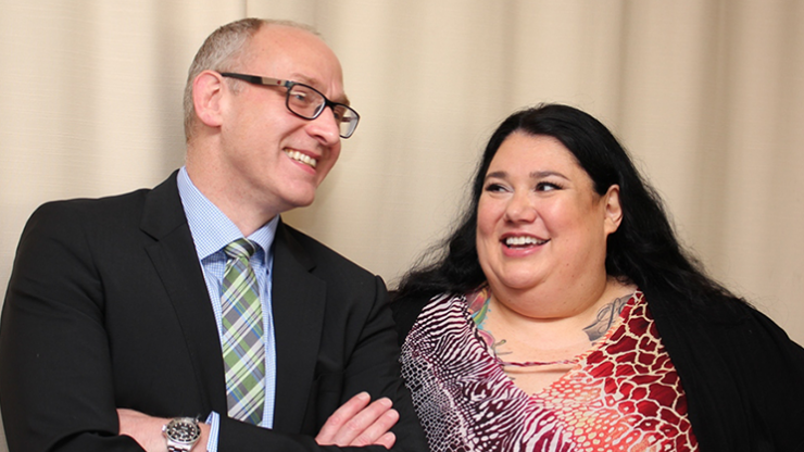 Dr. Michael Dunbar, QEII Foundation Endowed Chair Arthroplasty Outcomes with patient Candy Palmater.