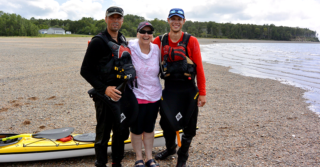 In August 2018, Christopher Lockyer (left) and Daniel Archibald (right) embarked on an epic kayak journey across the Bay of Fundy to raise money and awareness for breast cancer research through their QEII Foundation community initiative, A Paddle Fer Me Mudders Udders.